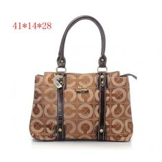 Coach Classic Signature Coffee Tote Bag Printed Fabric Top Zipper
