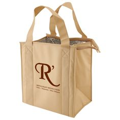 """Eco-friendly 100 GSM premium non woven polypropylene thermo tote, size 12"""" x 8"""" x 13"""" x 8"""" with 20"""" handle. With thermal insulation. Hot and cold for hours. Black PVC bottom board included! Sustainable and reusable. Specify color code when ordering. Priced per bag, sold per case of 50. All dimensions listed in description are width x side gusset x height x bottom gusset."""