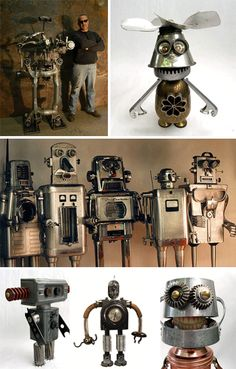 Futuristic Sculpture: Robot Statues and Found Creations