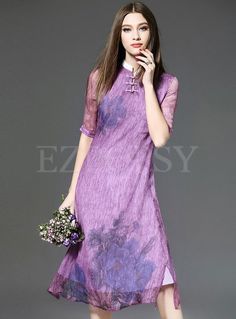 15eb61e41cb5 Shop for high quality Stand Collar Print A-Line Dress online at cheap  prices and