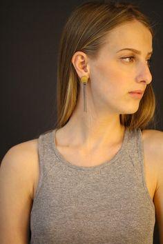 925 Sterling Silver earrings 22K Yellow Gold long by OakaTitan