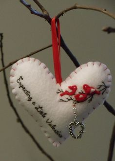 Expecting Parents Felt Heart Ornament by BananaBugAndZod on Etsy