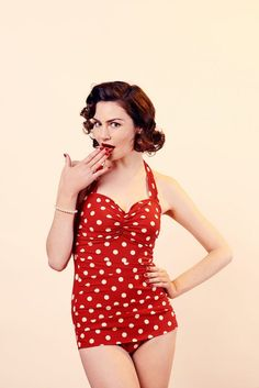 48b090d2f7f Esther Williams Red/White Polka Dot 1950's Style Swimsuit Vintage Style  Swimsuit, Red Swimsuit