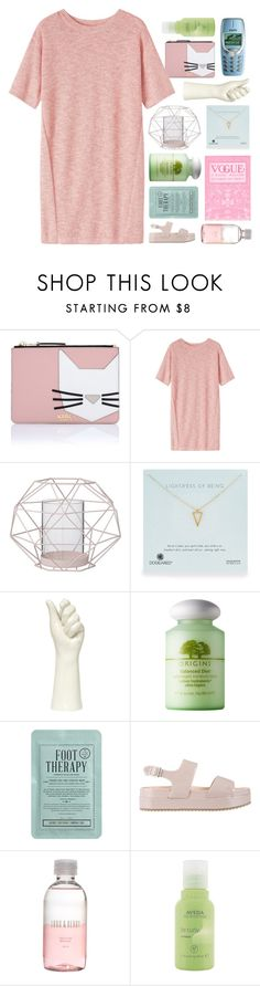 Untitled #2561 by tacoxcat on Polyvore featuring Toast, ZALORA, Karl Lagerfeld, Dogeared, Kocostar, Origins, Aveda, Lord & Berry, Bloomingville and Nokia