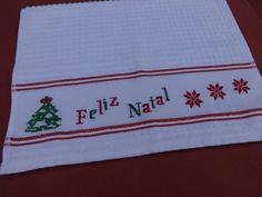 Pano de prato de natal - tema natalino - feliz natal -arvore de natal