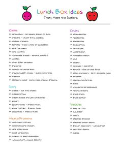 Lunchbox Ideas: list of mix-and-match kid lunch items; not just for kids--great way to avoid getting into a rut!