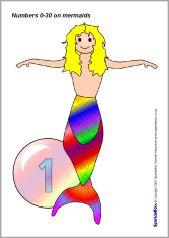 Numbers 0-30 on mermaids (SB2200) - SparkleBox