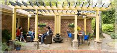 DIY pergola with ceiling fans and shopping list and steps to complete, like the brick around the posts and the hanging planters as well