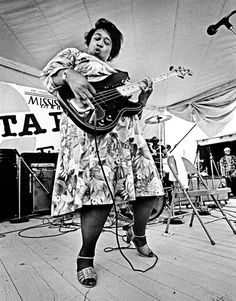 """QUEEN SYLVIA EMBRY The future blues singer and bassist was born Sylvia Lee Barton in Arkansas in Her grandmother taught her the piano when she was younger, a strict arrangement. """"She demanded I. Music Mix, Her Music, Rock And Roll, Willie Dixon, Guitar Girl, Female Guitarist, Blues Music, Thats The Way, Music Bands"""
