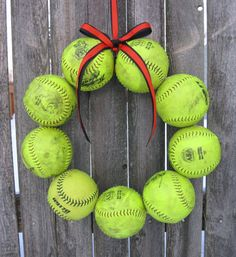 Softball Love Wreath yellow balls - no hat no letter