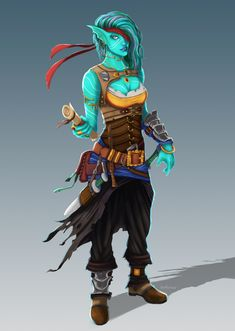 [Art] Water Genasi Swashbuckler : DnD (looks like Undyne) Dungeons And Dragons Characters, D D Characters, Fantasy Characters, Fantasy Races, Fantasy Rpg, Fantasy Artwork, Fantasy Character Design, Character Concept, Character Inspiration