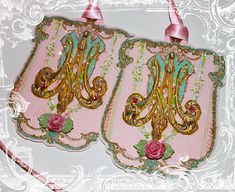 Marie Antoinette Monogram Die Cut Embellished and Glittered Tags from PaperNosh Christmas Tree Themes, Christmas 2014, Merry Christmas, Paint Party, Marie Antoinette, Craft Gifts, Letterpress, Pretty In Pink, Pink And Gold