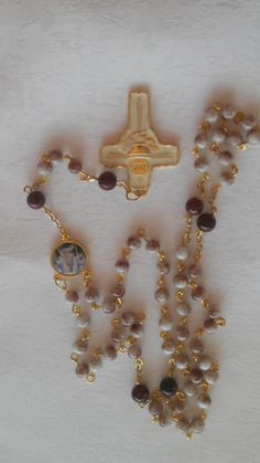 Beautiful Jasper and Tiger's Eye Rosary with Gold and Cream  Enameled Eucharist Crucifix.GREAT GIFT ! by BarbsBeadedBoutique on Etsy