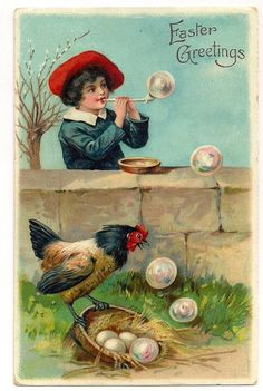 Superb EAS Series 5936 Easter Greeting of Boy Blowing Bubbles Hen Postcard