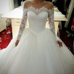 Off The Shoulder Wedding Dresses Ball Gowns Long Sleeves by prom dresses, $206.00 USD