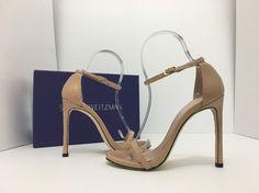 Stuart Weitzman Nudist Adobe Aniline Nude Patent Leather Women's Heels Sandals 6 #StuartWeitzman #AnkleStrapHighHeelsSandals #CasualClubwearSpecialOccasion