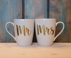 2 mugs come with this listing! Mr and Mrs couples coffee mugs. This is a set of 2 white, 14 oz, coffee mugs for the Mr and Mrs. The words are