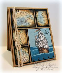 Love this boat card for dad. Maps are great and love the sailors knot!