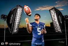 Behind the scenes by @cjmulvany :  I kept moving my #profoto edge lights closer to my subject Devin Culp a Gonzaga Prep wide receiver that they eventually became props. #gonzagaprepfootball #sportraits #profotob1 #spokanephotographer #spokane #