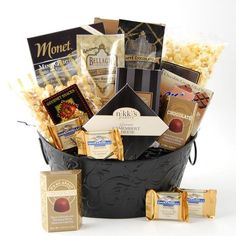 Cheer up someones day with this delightful sympathy gift basket. Each basket uses a black scrollwork-design, and is filled with comforting food items such as mouth-watering chocolate truffles, tangy cheddar popcorn, and gourmet cheeses. Gourmet Candy, Gourmet Food Gifts, Gourmet Recipes, Sympathy Gift Baskets, Sympathy Gifts, Ghirardelli Chocolate, Chocolate Truffles, Monet, Condolence Gift