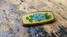 Antique French Guilloche Enamel Brooch