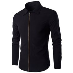 Chic Zipper Openning Turn Down Collar Long Sleeve Shirt For Men ($13) ❤ liked on Polyvore featuring men's fashion, men's clothing, men's shirts, men's casual shirts, mens long sleeve collared shirts, men's collared shirts, mens longsleeve shirts and mens zip up shirts