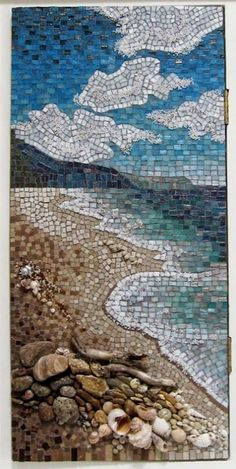 This seascape was done in a bathroom cabinet door; landscape mosaic - a mixture of bizzaza glass tiles, ceramic tiles, stones, beads, shells and wood via Wet Canvas Forum by chrisgb Mosaic Crafts, Mosaic Projects, Mosaic Designs, Mosaic Patterns, Mosaic Wall, Mosaic Tiles, Glass Tiles, Mosaic Mirrors, Mosaic Glass Art