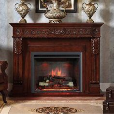 PuraFlame Western 33 inch Embedded Electric Firebox Heater With Remote Control, Black Fireplace Safety, Home Improvement, Brick Paper, Old Fireplace, Brick Design, Fireplace Mantels, Fireplace Mantel Surrounds, Fireplace