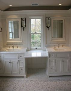 Toby Leary Fine Woodworking: Spectacular master bathroom with white bathroom cabinets paired with calcutta marble . Master bathroom double sink with makeup vanity in the middle? Master Bedroom Bathroom, Bathroom Renos, Bathroom Renovations, Small Bathroom, Home Remodeling, Bath Room, Bathroom Ideas, Bathroom Double Sinks, Bathroom Double Sink Vanities