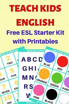 Teach Kids English with this ESL Starter Kit. Find your FREE Printable Materials inside along with tips on how to teach English as a second language. Learn English For Free, Learning English For Kids, English Lessons For Kids, Teaching English Online, Esl Lessons, Kids English, Language Lessons, French Lessons, Spanish Lessons