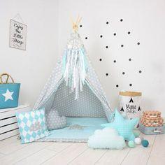 Nursery Tent Gray Teepee Star Tent Blue Teepee Tee Pee