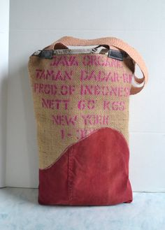 Burlap and Leather Tote Bag   Pink Leather Tote Bag by Liquidshiva, $82.00