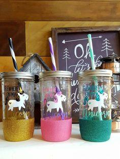 Centros de mesa unicornio tarro cristal persona de for Cuartos para ninas tumbler