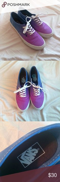 Vans Blue and Purple Ombré Skate Shoes Very pretty sneakers. Only worn about twice. A bit dirty but I will try to clean. Not really any wear though! Men's 6 women's 7.5. Vans Shoes Sneakers
