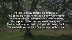 Great American Poetry ~ Birches by Robert Frost with text