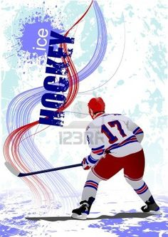 Ice hockey players poster.  Stock Photo