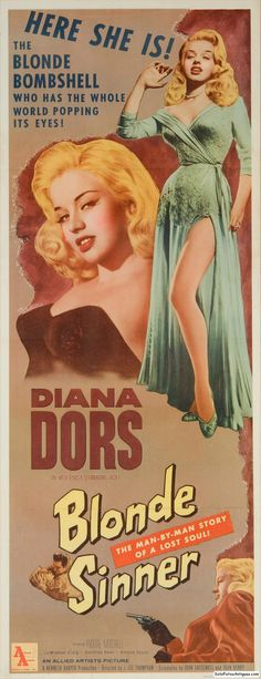 Old Diana Dors Film Poster reproduction Bikini Babe
