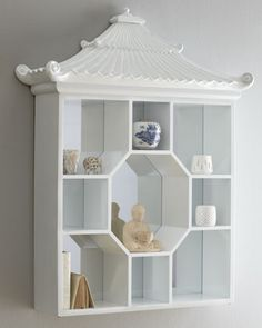 """White Pagoda"" Vitrine Wall Shelf at Horchow. This would make an awesome shadow box mini photos display case says www.jaynie.me"