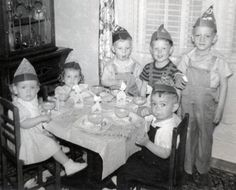 Vintage photo of a children's birthday party, 1950's.