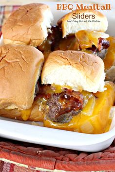 Fabulous sliders are extra gooey with cheese, filled with bbq meatballs, bacon and onions and served on King's Hawaiian Sweet Rolls for spectacular taste.