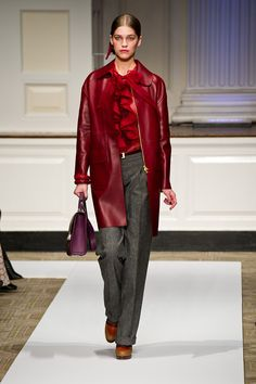 Oscar de la Renta Pre-Fall 2012    I don't know where to start with the love - the handbag?  The ruffles on the blouse?  The red jacket?  I love all of the things you choose to be.