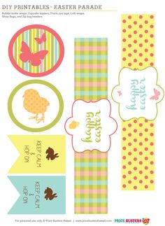 Downlad our FREE Easter Parade Printable! Easter Bubble labels, cupcake toppers and treat bag tags.