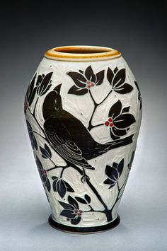 Karen Newgard: Bird Vase with Amber Rim Pottery Sculpture, Pottery Vase, Ceramic Pottery, Ceramic Art, Ceramic Birds, Sgraffito, Ceramic Techniques, Pottery Designs, Painted Pots
