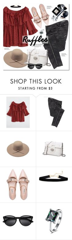 """""""Add Some Flair: Ruffled Tops"""" by oshint ❤ liked on Polyvore featuring Parasuco and Miu Miu"""