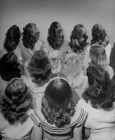 Popular shoulder length hairstyle worn by teenagers, 1947. Photographed by Nina Leen