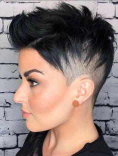 Short Shaved Hairstyles, Pixie Hairstyles, Short Hairstyles For Women, Short Hair Cuts Shaved, Hairstyle Short, Shaved Pixie Cut, Shaved Hair Women, School Hairstyles, Undercut Hairstyles