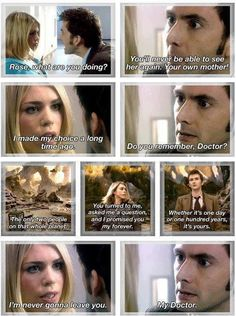 Doctor Who - Tenth Doctor and Rose Tyler Doctor Who, 10th Doctor, Rose Tyler, Serie Doctor, Inigo Montoya, Rose And The Doctor, Fandoms, Billie Piper, Don't Blink