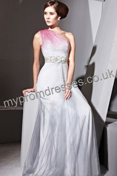 Floor Length One-shoulder Gray and red bead on shoulder Tulle A-line Evening Dress  http://www.mypromdresses.co.uk
