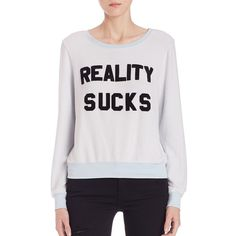 Wildfox Reality Sucks Sweatshirt ($105) ❤ liked on Polyvore featuring tops, hoodies, sweatshirts, apparel & accessories, jacuzzi, slouchy pullover, long sleeve pullover, slouchy tops, slouchy sweatshirt and graphic pullover