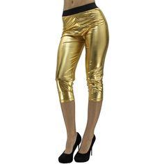 Gold Metallic Foil Capri Style Stretchy Leggings ($19) ❤ liked on Polyvore featuring pants, leggings, footless tights, gold, leg wear, wetlook leggings, shiny leggings, capri leggings, metallic leggings and wide-waistband leggings